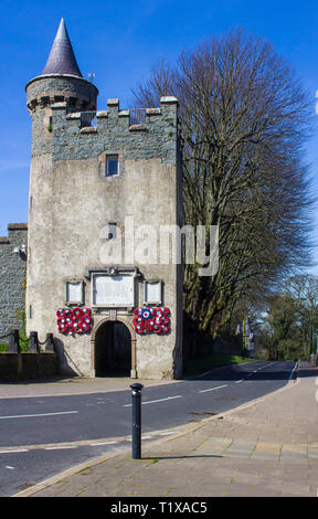 28 March 19 An ancient Keep at the Privately owned Killyleagh Castle in County Down Northern Ireland. The castle has the architectural style of a trad - Stock Image