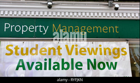 Property Management sign 'Student Viewing Available Now', UK - Stock Image