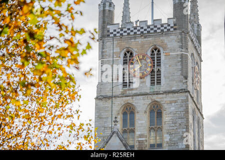 Southwark Cathedral church exterior. Serene, Gothic Anglican cathedral with famous daily choral in Southwark, London, lies on the south bank. - Stock Image
