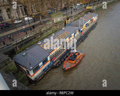 RNLI Lifeboat station for river rescue crews, River Thames, London, UK. - Stock Image