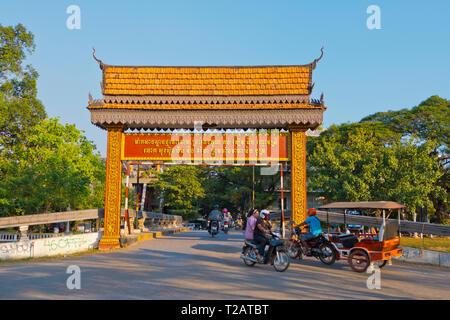 Old Market Bridge, Siem Reap, Cambodia, Asia - Stock Image