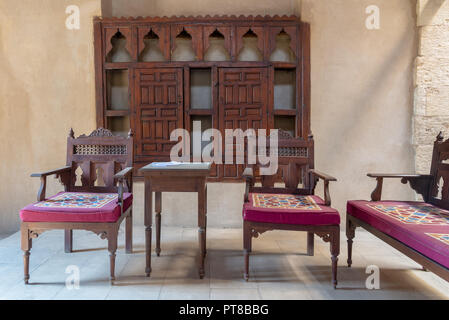 VIP Lounge at Ottoman era historic House of Egyptian Architecture, located in Darb El Labbana district, Cairo, Egypt - Stock Image