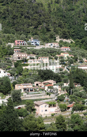 Many Houses On The Hill  In Castellar On The French Riviera, France, Europe - Stock Image