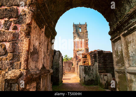Church of St. Augustine is a ruined church complex located in Old Goa in India - Stock Image