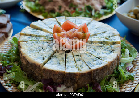 Horizontal shot of aged blue cheese wheel, cut in small triangles at a buffet restaurant, a very distinctive flavor dairy - Stock Image
