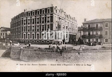 Grand Hotel d'Angleterre and Hotel de la Plage, St Jean de Luz, Basses Pyrenees, France. - Stock Image
