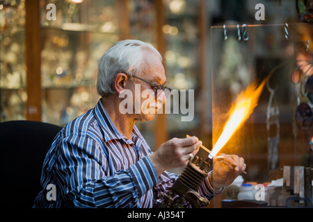 Glass worker plying his trade at Quincy Market Faneuil Hall Boston Massachusetts - Stock Image