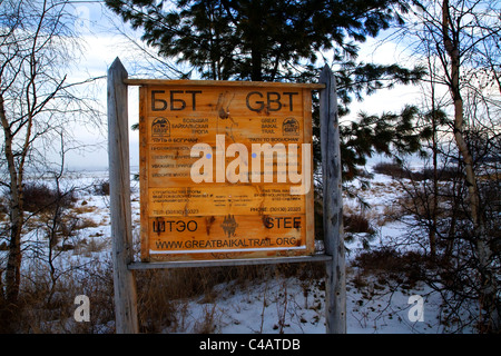 Russia, Siberia, Baikal; A notice giving information about the Great Baikal Trail; - Stock Image