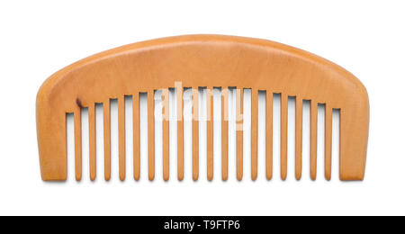 Small Wood Hand Comb Isolated on White Background. - Stock Image