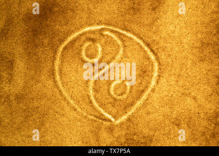 Sand animation and drawing. Yin Yang symbol. the concept of harmony - Stock Image