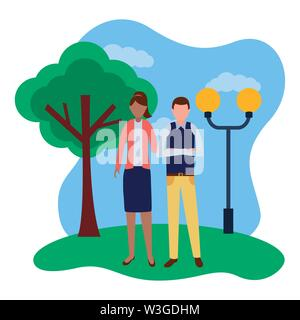 business man and woman in the park - Stock Image