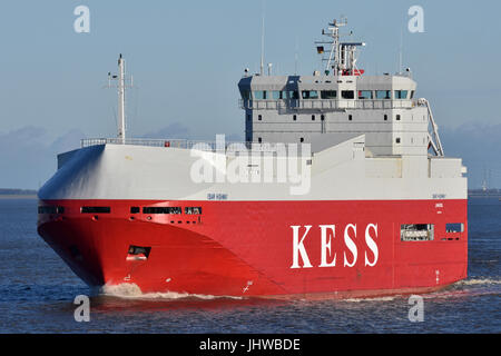 Isar Highway river Elbe outbound near Brunsbüttel - Stock Image