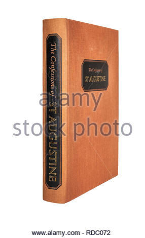 The Folio Society edition of The Confessions of St. Augustine, isolated on white background, showing spine and front cover. - Stock Image