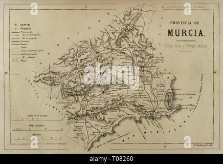 Map of the province of Murcia. Cronica General de España, Historia Ilustrada y Descriptiva de sus Provincias. Murcia, 1870. - Stock Image