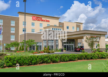 Hilton Garden Inn hotel or motel front exterior entrance in Montgomery Alabama, USA. - Stock Image