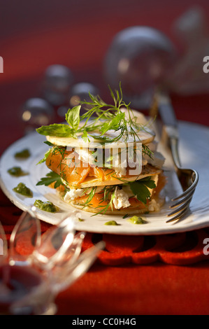 Salmon Mille-feuille - Stock Image