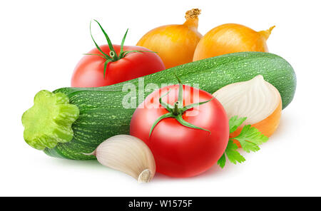 Isolated vegetables. Raw ingredients for zucchini, onion and tomato sauté isolated on white background with clipping path - Stock Image
