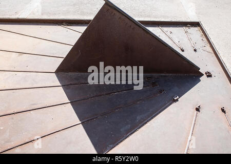 Antequera, Spain - July 10, 2018: Michael Hoskin Solar clock at entrance to Dolmen of Menga in Antequera. - Stock Image