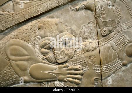 British Museum, Bloomsbury, London, England, UK. Sculptures from the Palace of Darius (518-319 BC) at Persepolis, Iran. Plaster cast (1892) showing de - Stock Image