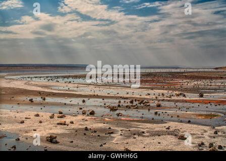 Landscape of soda minerals on the lake shore in Magadi Kenya. Africa. - Stock Image
