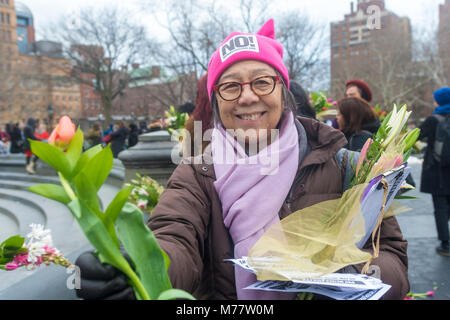 - New York, NY, USA. 8March 2018 Women activists rallied in Washington Square Park for a march to Zuccotti Park, - Stock Image