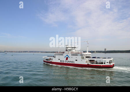 Red Eagle one of Red Funnel's Isle of Wight roll-on, roll-off ferries heading into Southampton on Southampton - Stock Image