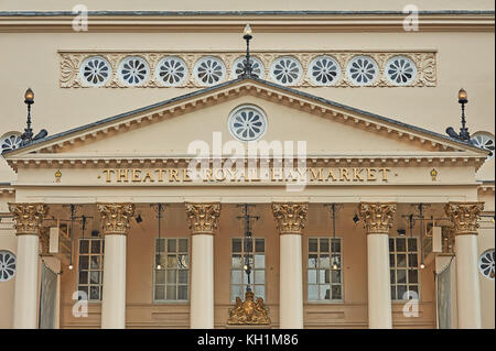 The façade of the Theatre Royal in Haymarket, London - Stock Image