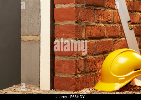 Brick Wall with Insulation, Cross Section - Stock Image