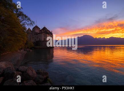 Evening Chillon castle - Stock Image