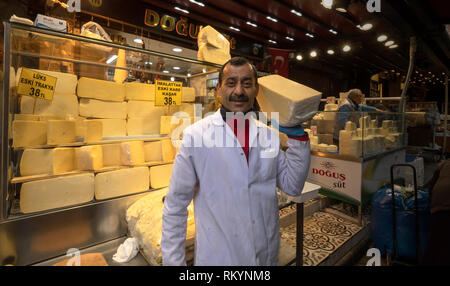 Fresh cheese for sale in Grand Bazaar in Istanbul in Turkey. - Stock Image