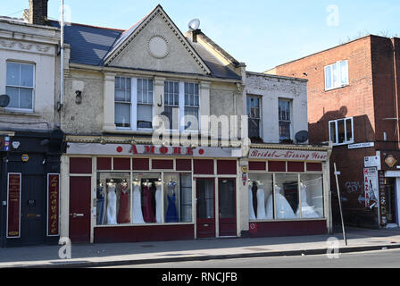 Tottenham London UK - The Amore Wedding Dress and gown shop in Tottenham High Road  Photograph taken by Simon Dack - Stock Image