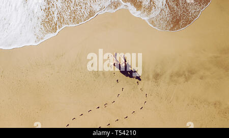 Couple of women young friends people at the beach viewed from vertical top view enjoy the summer vacation sitting on the sand for a sunbath - waves co - Stock Image