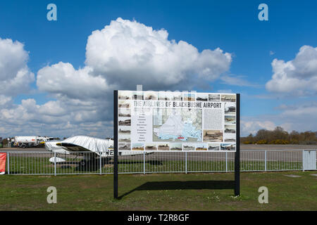 Information board at Blackbushe Airport about the airlines flying from the airfield in Hampshire, UK - Stock Image