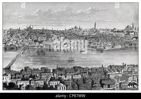 Cityscape of Constantinople, Byzantium or Istanbul, Riva river, Turkey, historical engraving, 19th Century, Stadtansicht - Stock Image