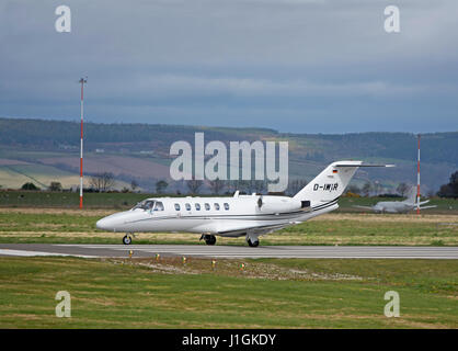 Cessna Citation 525A Twim Jet Engined private jet aircraft arriving at Inverness Airport, Scotland.UK. - Stock Image