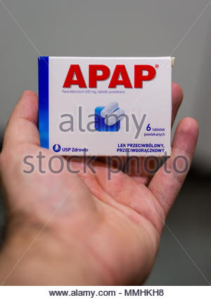 Apap pain killer in a box being held by a hand - Stock Image