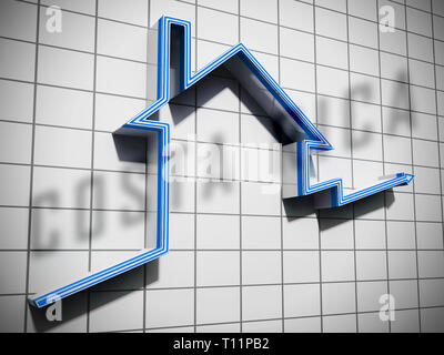 Costa Rica Homes Graph Depicts Real Estate Or Investment Property. Luxury Residential Buying And Ownership - 3d Illustration - Stock Image