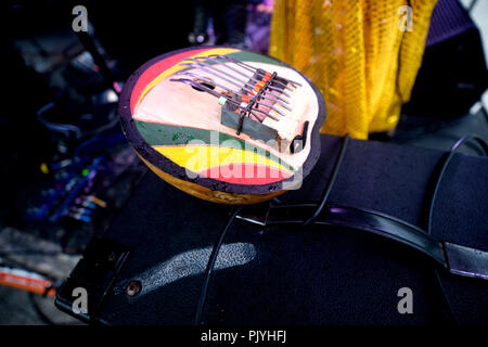 Philadelphia, USA. 08th Sep, 2018. Backstage aches as cosmic and experimental jazz ensemble Sun Ra Arkestra, conducted by the 94 year old Marshall Allen, performs in Philadelphia, PA, on September 8, 2018. Credit: PhotograPHL/Alamy Live News - Stock Image
