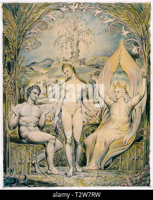 William Blake, The Archangel Raphael with Adam and Eve, painting, 1808 - Stock Image