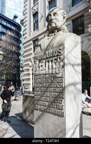 A bust of Paul Julius Freiherr von Reuter on the Royal Exchange, City of London, UK - Stock Image