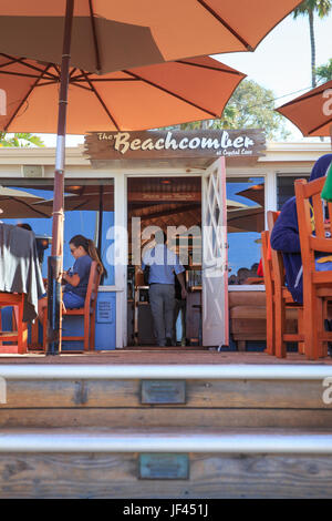 Entrance to the Beachcomber Restaurant at Crystal Cove State Park California USA - Stock Image