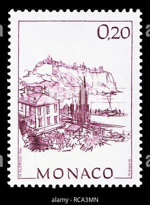 Monaco postage stamp (1991): Early Views of Monaco definitive series: Rock of Monaco and harbour of Fontvieille - Stock Image