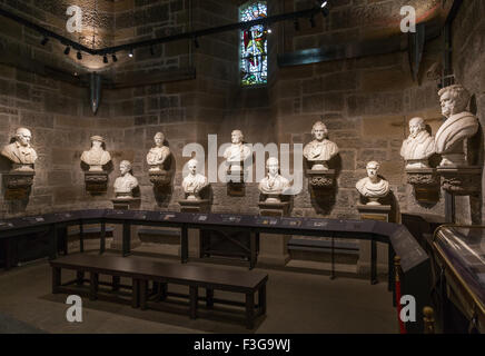 The Hall of Heroes inside the National Wallace Monument on Abbey Craig, Stirling in Scotland - Stock Image