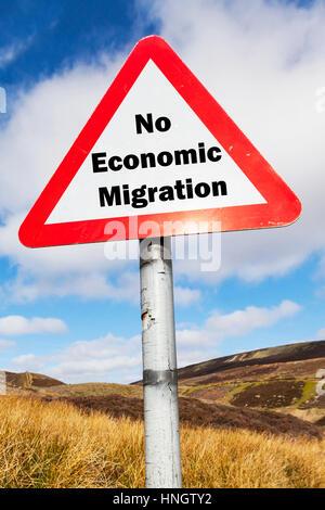 No economic migration sign concept signs UK migrants problem crisis economic migrants UK England causing NHS crisis - Stock Image