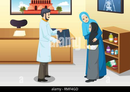 A vector illustration of Girl with Broken Arm at Doctor Office - Stock Image