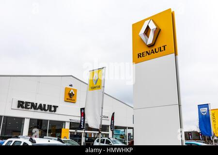 Renault garage sign car dealers dealer dealership sign car sales car dealer emblem UK England - Stock Image