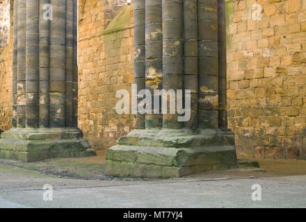 Kirstall Abbey Ruins Interior Leeds West Yorkshire UK - Stock Image