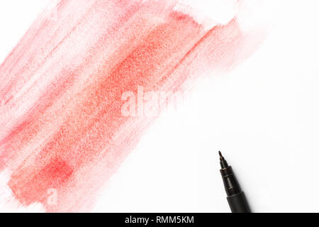 Red pink crimson watercolor paintbrush long strokes on white paper background. Black pigment fineliner pen. Greeting card poster banner placeholder te - Stock Image