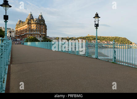 The Grand Hotel Scarborough with Scarborough harbour and Castle in background. unsharpened - Stock Image