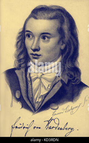Novalis pseudonym of Georg Philipp Friedrich Freiherr von Hardenberg.German author and philosopher of early German - Stock Image
